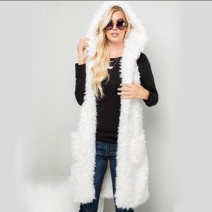 White Faux Fur Hooded Vest With Pockets